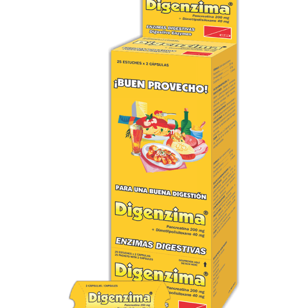 Digenzima Dispensador 25 cajetillas x2 tabletas c/u