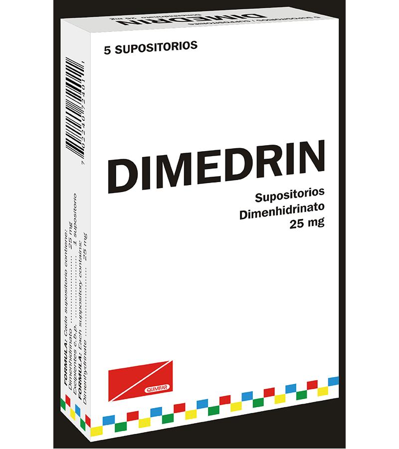Dimedrin Supositorios 25 mg caja x5