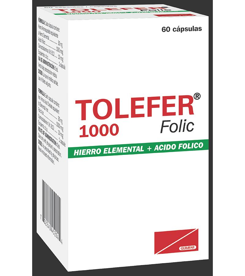 Tolefer Folic Capsulas 1000 + B12 frasco x60