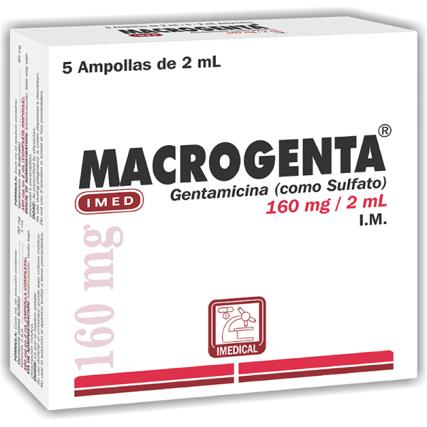 Macrogenta Ampolla Inyectable 160 mg / 2 ml caja x1